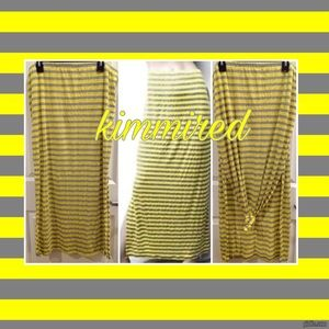 Dresses & Skirts - 🆕Yellow/Gray Stripe Maxi Skirt w/ Side Slits ~ 2X